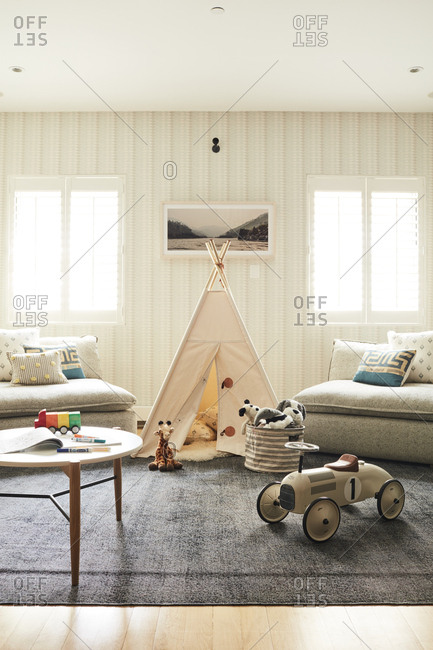 Los Angeles, California - July 12, 2017: Children's teepee and toys in a family room