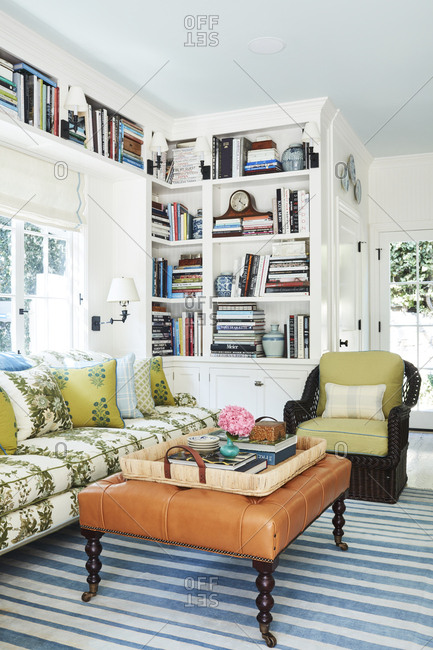 Los Angeles, California - October 4, 2016: Den with built in bookshelves