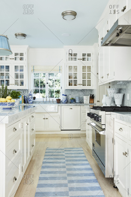 Los Angeles, California - October 4, 2016: Upscale kitchen with white cabinetry