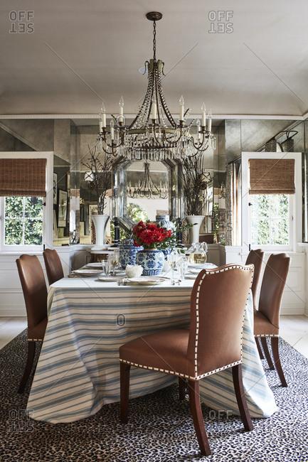 Los Angeles, California - October 5, 2016: Fancy chandelier over dining room table