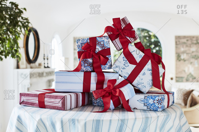 Los Angeles, California - October 5, 2016: Presents wrapped in red and blue