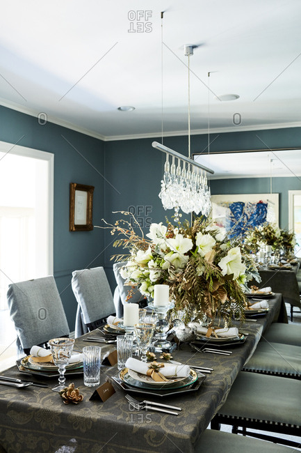 Los Angeles, California - September 1, 2016: Table set for an elegant dinner party