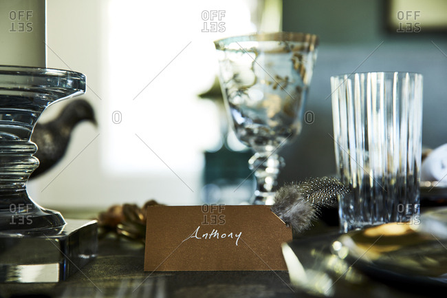 Los Angeles, California - September 1, 2016: Close up of nametag on a set table for a fancy dinner party