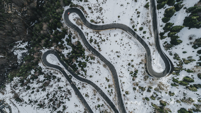 Aerial view of winding road in the Pyrenees mountains