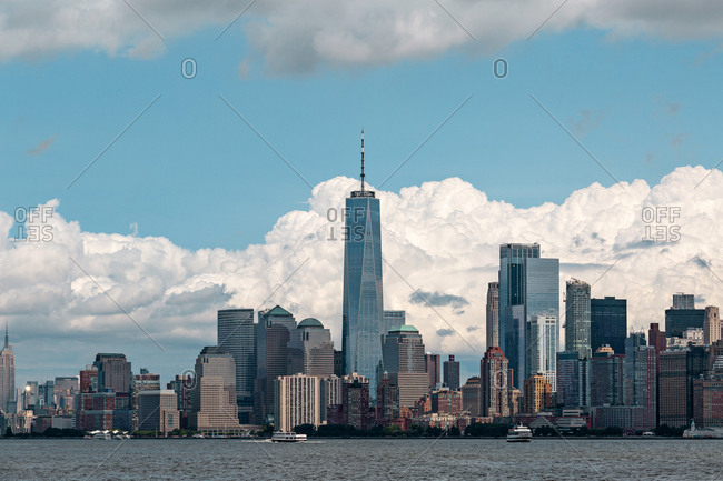 New York City, USA - August 22, 2018: Lower Manhattan skyscrapers and buildings view from the Statue of Liberty