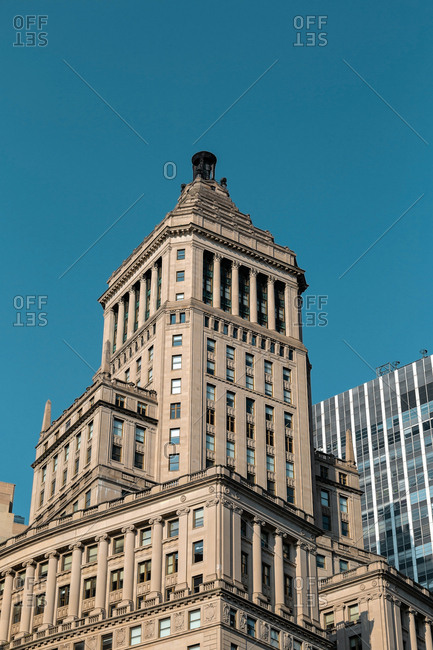 Skyscraper and old buildings of Lower Manhattan in New York City United States