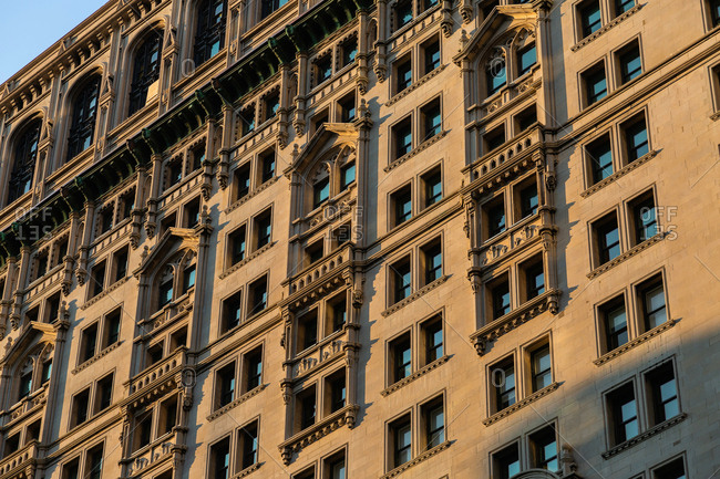 Building exterior detail in Lower Manhattan in New York City United States