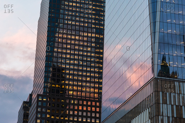 Building exterior reflection at sunset in Lower Manahttan New York City United States