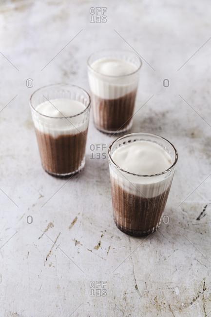Three caffe mochas