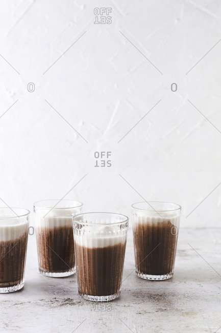 Four glasses of caffe mocha