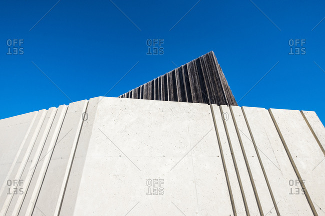 Barcelona, Spain - February 14, 2019: Exterior facade of the Begues civic center building in the province of Barcelona in Catalonia Spain