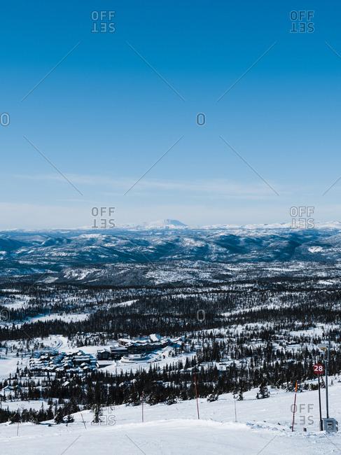 Ski slopes in season on the Scandes mountain range