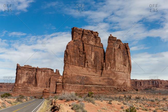 Buttes along desert road in Utah