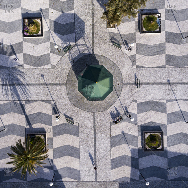 Aerial view of a city square