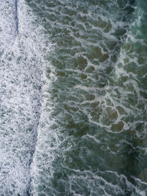 Overhead view of water in the ocean