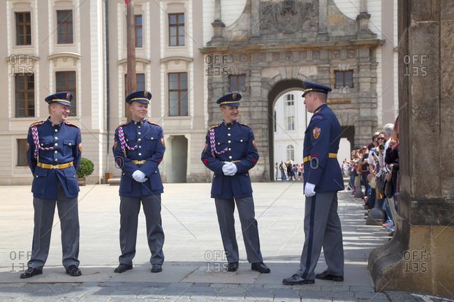 Prague, Czech Republic - May 23, 2011: Prague castle guards at the entrance
