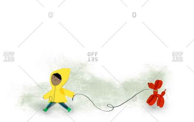 Child walking balloon animal