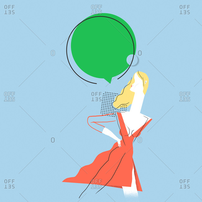Illustration of woman with thought bubble