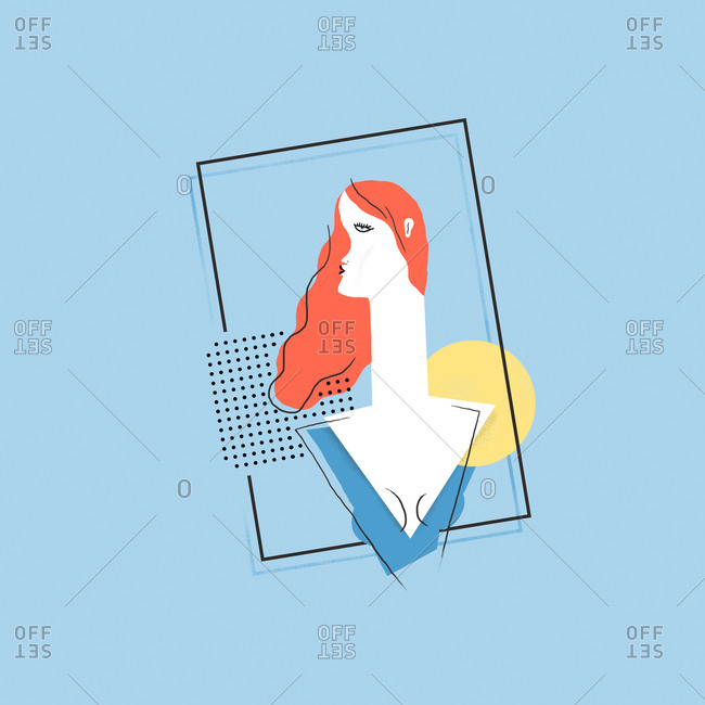 Illustration of woman with red hair on blue background