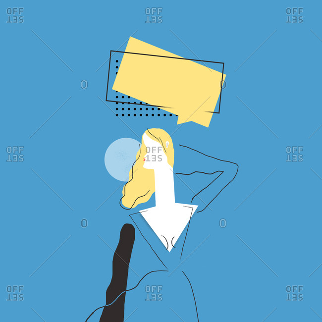 Illustration of woman with thought bubble on blue background