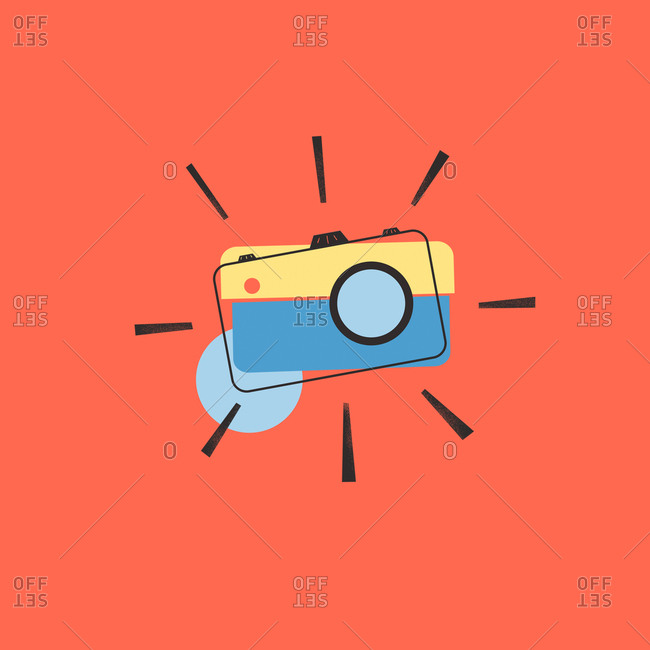 Blue and yellow camera on red background