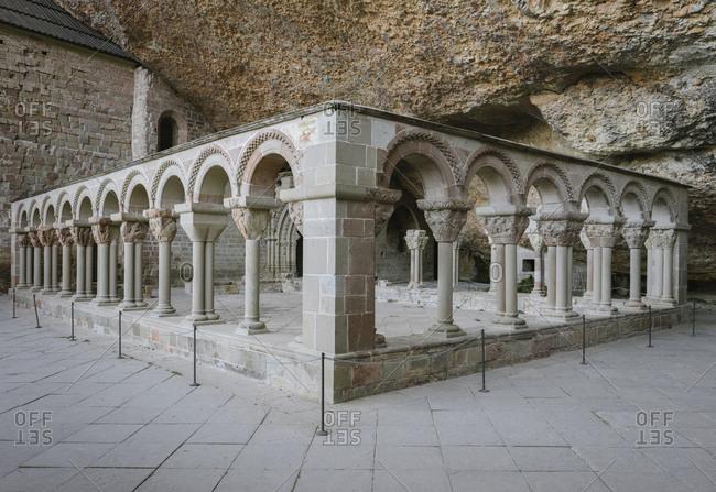 Cloister of San Juan de la Pena monastery in Huesca, Aragon, Spain