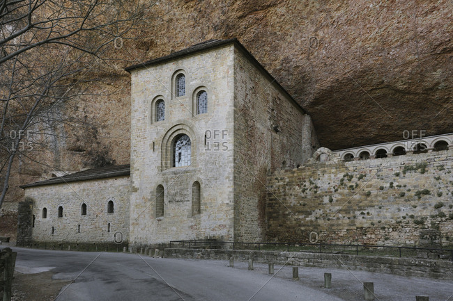 The Monastery of San Juan de la Pena, in Jaca, Huesca, Spain, carved from stone under a great cliff
