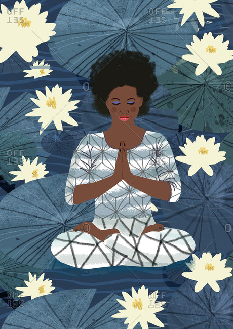 Woman in lotus position - Offset