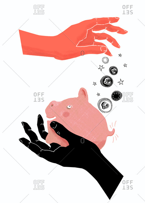 Hands put money in piggy bank
