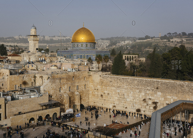View over the wailing wall/western wall and the Dome of the Rock mosque in the old city, Jerusalem, Israel.