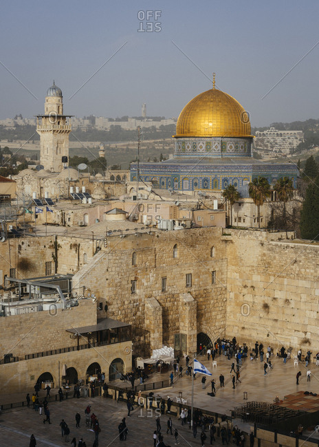 January 13, 2019: View over the wailing wall/western wall and the Dome of the Rock mosque in the old city, Jerusalem, Israel.