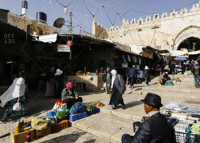 January 13, 2019: Street scene right after entering the old city from Damascus gate,, Jerusalem, Israel.