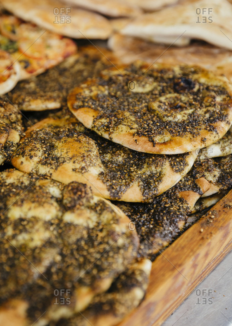 Arab pizza with za'atar at Shawar's Bakery in the old city, Jerusalem, Israel.