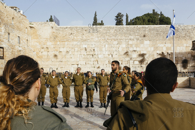 January 13, 2019: Israeli soldiers by the Wailing Wall/Western Wall in the old city, Jerusalem, Israel.