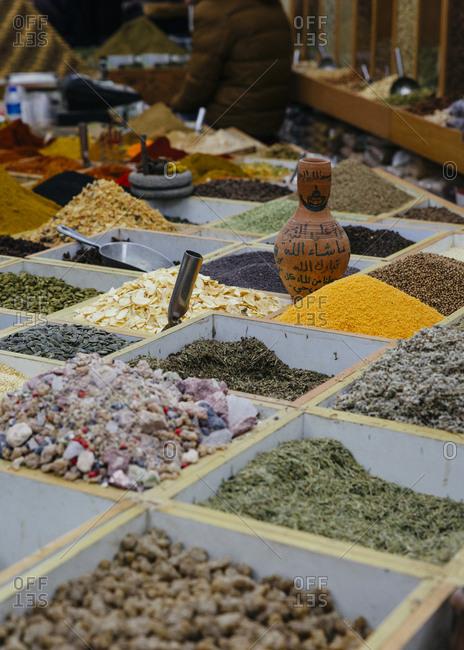"""January 13, 2019: """"Manba el Zaatar"""" spice shop in Khan el Zeit street in the old city, Jerusalem, Israel."""