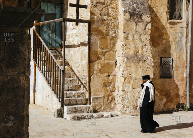 January 21, 2019: The Ethiopian Orthodox monastery at the back of the Holy Sepulchre Church in the old city, Jerusalem, Israel.