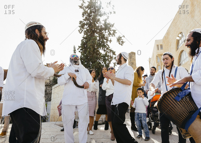 January 21, 2019: Orthodox Jewish people celebrating a Bar Mitzvah in the old city, Jerusalem, Israel.