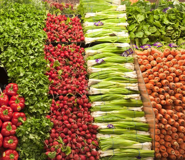 March 12, 2019: Grocery Store Produce Aisle,Portland, Oregon, USA