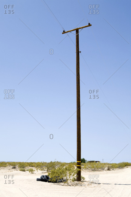 Utility Pole in Desert, Twenty Nine Palms, Mojave Desert, California,Twentynine Palms, California, USA