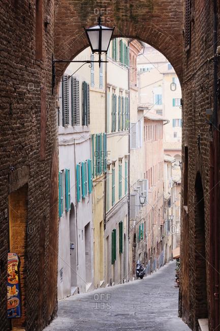 March 12, 2019: Street Archway,Siena, Tuscany, Italy