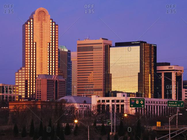 City Skyline at Dusk,Charlotte, North Carolina, USA