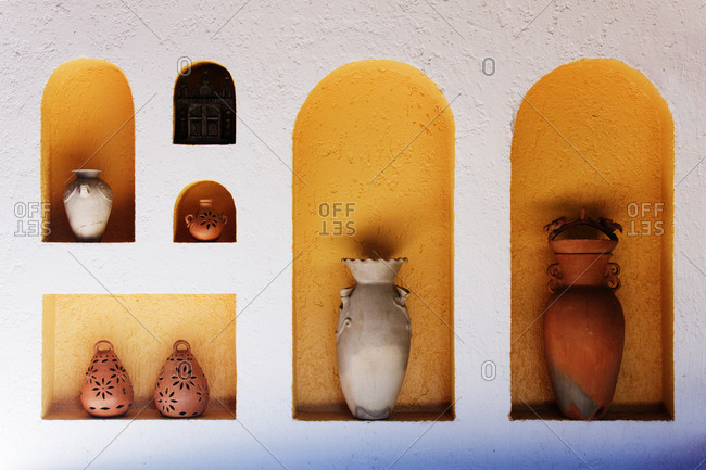 Art Niches with Pottery,Palenque, Chiapas, Mexico