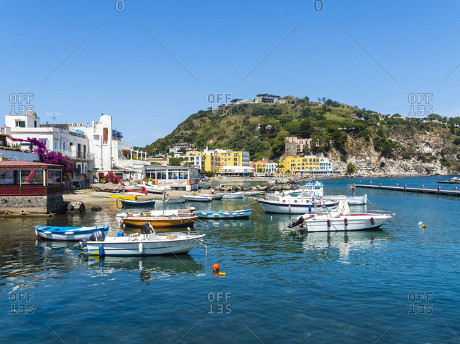 June 18, 2016: Italy- Campagnia- Ischia- Lacco Ameno- Beach and restaurant at Corso Angelo Rizzoli