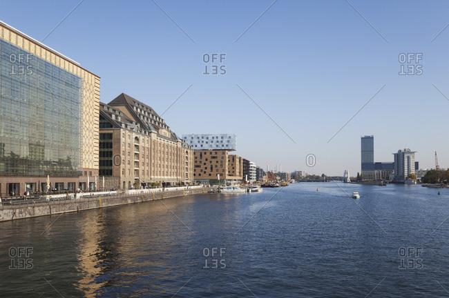 October 12, 2018: Germany- Berlin-Friedrichshain- Osthafen at River Spree seen from Oberbaum Bridge