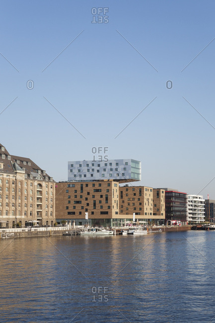 October 12, 2018: Germany- Berlin-Friedrichshain- Osthafen at River Spree with new buildings seen from Oberbaum Bridge