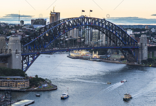 June 10, 2016: Australia- New South Wales- Sydney- Sydney Harbor Bridge in the evening