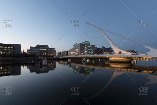 June 15, 2016: Ireland- Dublin- Samuel Beckett Bridge- river Liffey in the evening