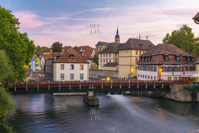 October 3, 2018: Germany- Bavaria- Bamberg- old town- Regnitz river at twilight