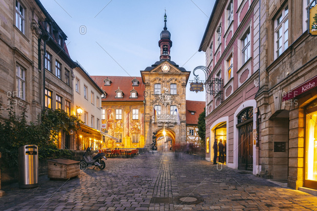 October 3, 2018: Germany- Bavaria- Bamberg- old town with old town hall at dusk
