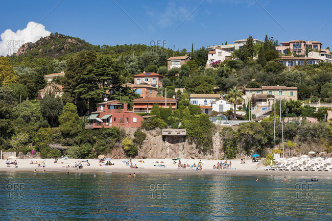 September 8, 2018: France- Provence-Alpes-Cote d'Azur- Theoule-sur-Mer- beach and holiday homes